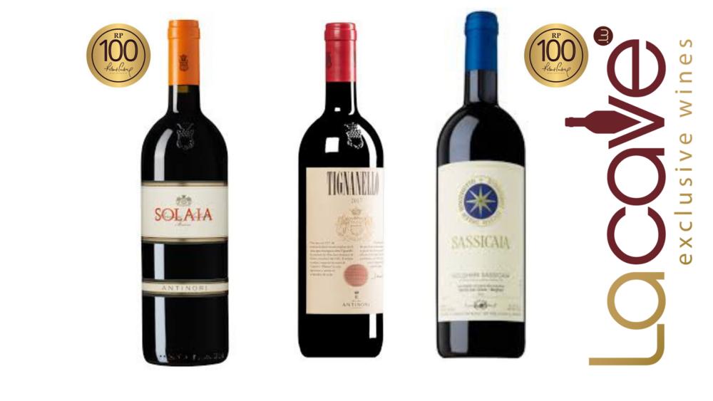 COLLETION 3 VINS SUPERS TOSCANS, SUPER MILLESIME 2016  solaia , sassicai, tignanello