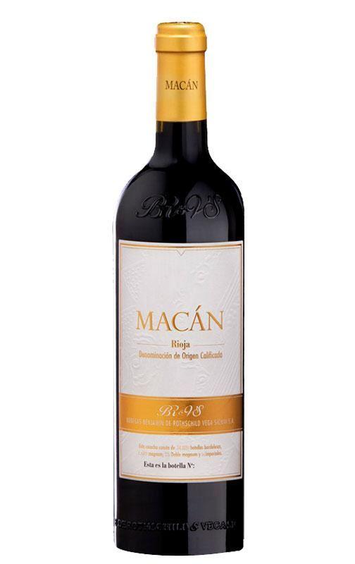 Domaine :Vega Sicilia Nom du vin :Macan Millésime :2014 Appellation :Rioja Région :Espagne Couleur :Vin rouge Cépages :100% Tempranillo contenance 75 cl